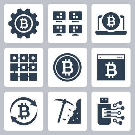 Cryptocurrency Mining Vector Icon Set in Glyph Style 2
