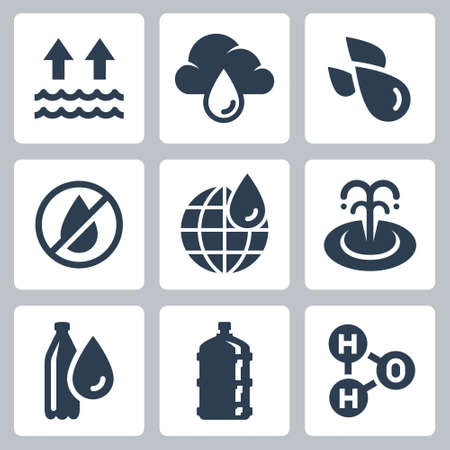 Water Consumption and Ecology Related Vector Icon Set