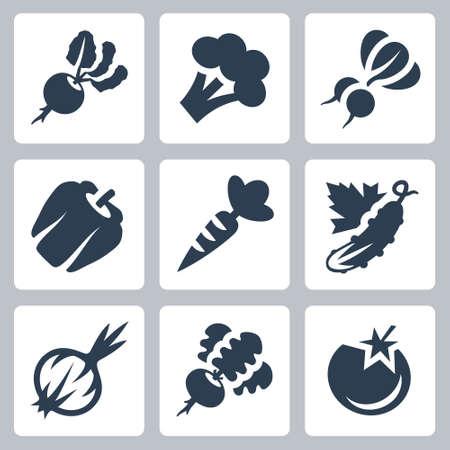 Vegetables Vector Icon Set in Glyph Style Ilustração