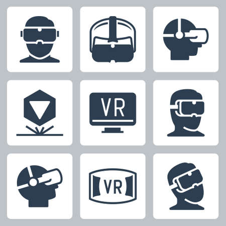 Virtual Reality Related Vector Icon Set in Glyph Style