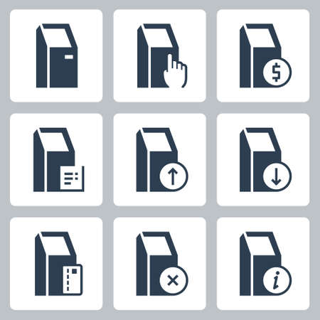 POS Point-Of-Sale Terminal Vector Icon Set in Glyph Style
