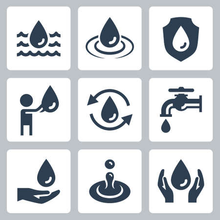 Water Consumption and Ecology Related Vector Icon Set 2