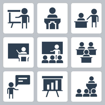 Presentation and Teaching Related Icon Set in Glyph Style 2 Ilustração