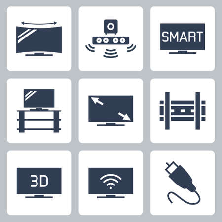 TV Related Vector Icon Set in Glyph Style 2