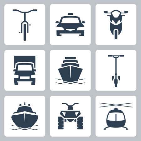 Transport Vector Icon Set, Front View in Glyph Style