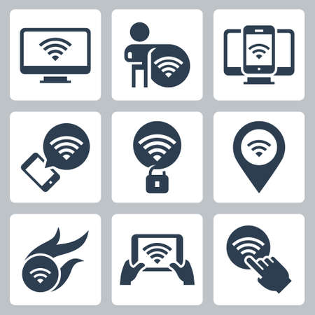 Wifi Related Vector Icon Set in Glyph Style  イラスト・ベクター素材