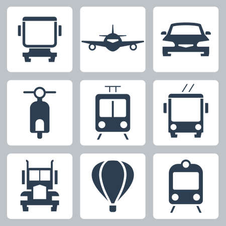 Transport Vector Icon Set, Front View in Glyph Style 2
