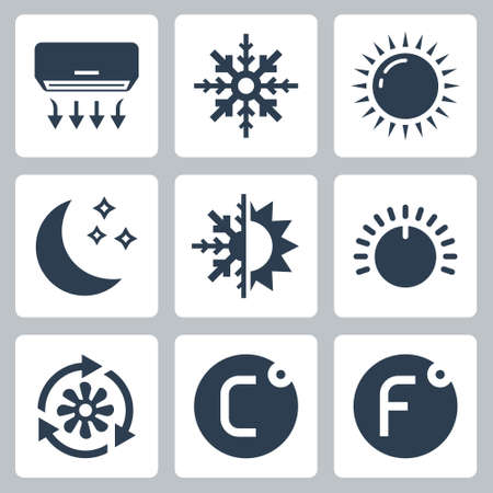 Air Conditioning and Air Conditioner Related Vector Icon Set 2  イラスト・ベクター素材
