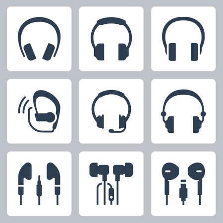 Headphones Vector Icon Set in Glyph Style Ilustração