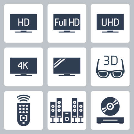 TV Related Vector Icon Set in Glyph Style