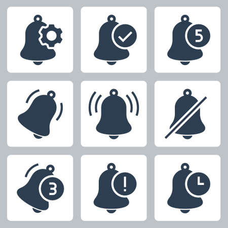 Notification Bells Vector Icon Set in Glyph Style