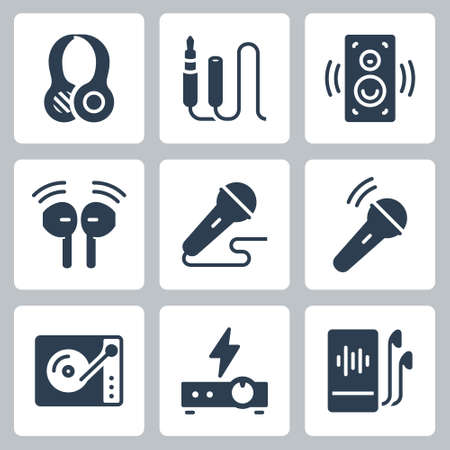 Audio Equipment Vector Icon Set in Glyph Style