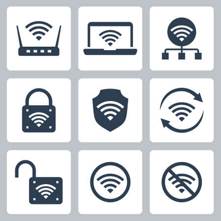 Wifi Related Vector Icon Set in Glyph Style 2  イラスト・ベクター素材