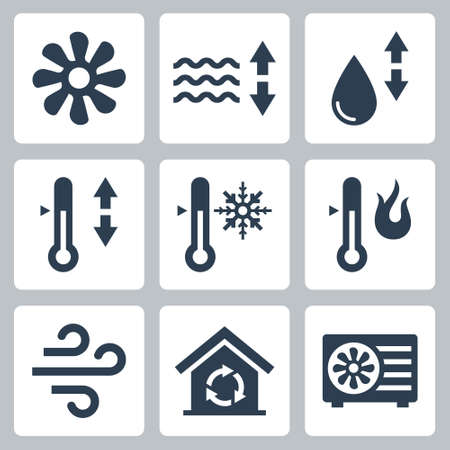 Air Conditioning and Air Conditioner Related Vector Icon Set  イラスト・ベクター素材
