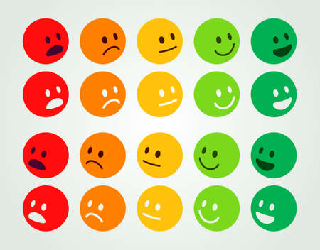Rating and Ranking Levels of Satisfaction. Colored Round Faces Depicting Emotions - Excellent, Good, Normal, Bad and Awful Ilustração