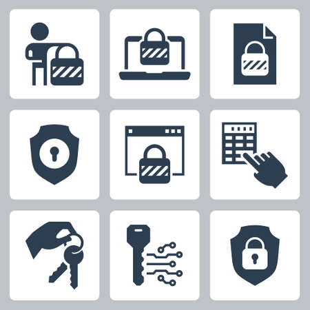 Locking and Unlocking Vector Icon Set in Glyph Style 2