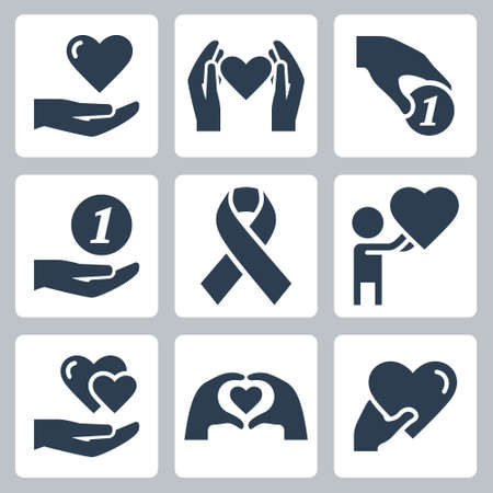 Charity and Volunteering Vector Icon Set in Glyph Style