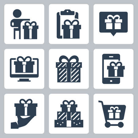 Gift and Present Vector Icon Set in Glyph Style 2