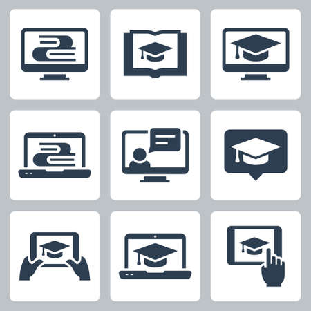 Online Education and Tutorials Vector Icon Set in Glyph Style  イラスト・ベクター素材