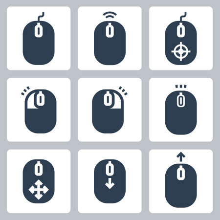Computer Mouse and It's Buttons Indication Vector Icon Set  イラスト・ベクター素材
