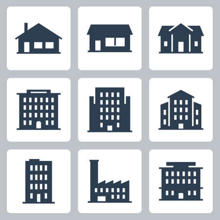 Buildings and Houses Vector Icon Set in Glyph Style 2