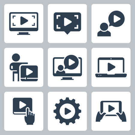 Media Play and Streaming Vector Icon Set in Glyph Style