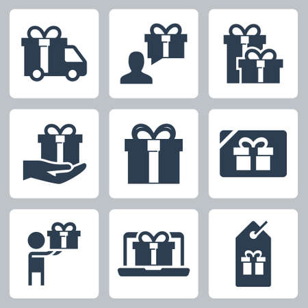 Gift and Present Vector Icon Set in Glyph Style