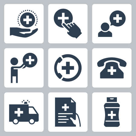Medical and Pharmacy Vector Icon Set in Glyph Style  イラスト・ベクター素材