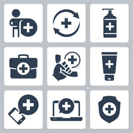 Medical and Pharmacy Vector Icon Set in Glyph Style 2