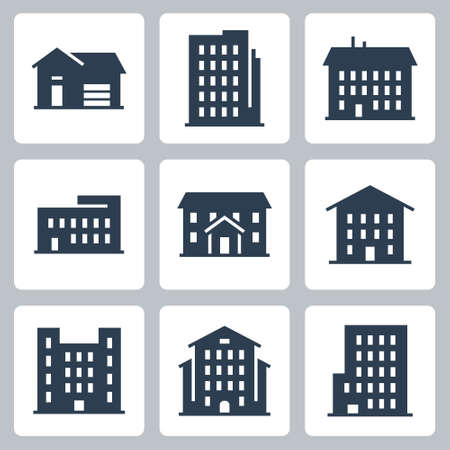 Buildings and Houses Vector Icon Set in Glyph Style