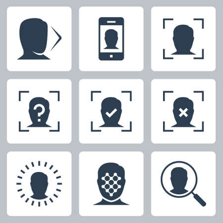 Face Scan Related Vector Icon Set in Glyph Style