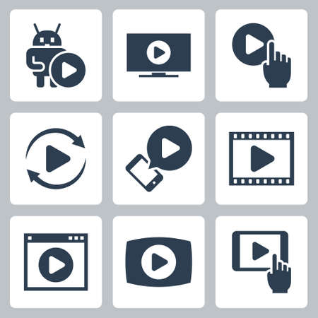 Media Play and Streaming Vector Icon Set in Glyph Style 2