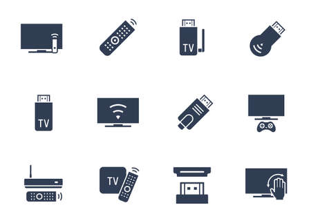 TV Stick and Box Vector Icon Set