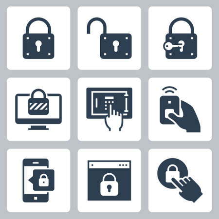 Locking and Unlocking Vector Icon Set in Glyph Style