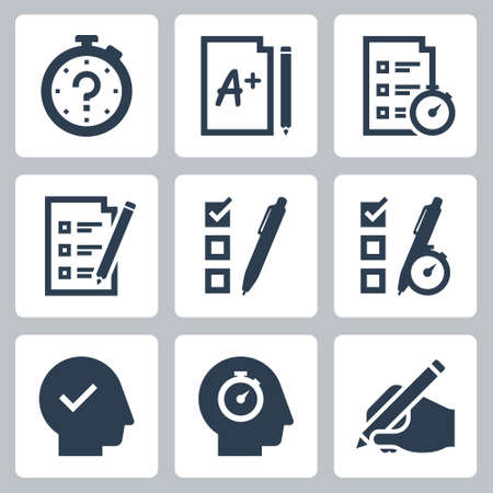 Quiz and Test Related Vector Icon Set