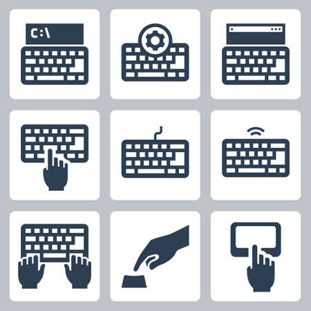 Keyboard and Typing Related Vector Icon Set