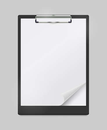 Realistic Clipboard Mockup With Blank White Sheet of Paper With Curled Corner