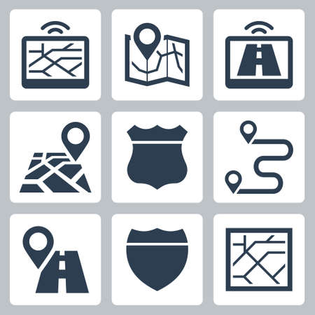 Vehicle Navigation and Road Related Vector Icon Set