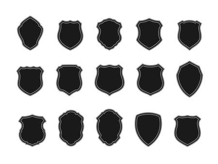 Vector Set of Black Badges in Shape of Shields