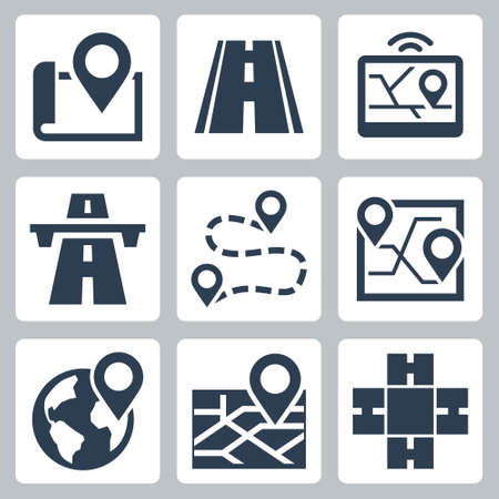 Vehicle Navigation and Road Related Vector Icon Set 2  イラスト・ベクター素材