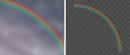 Realistic Rainbows Over Overcast Sky and Isolated Over Checkered Background