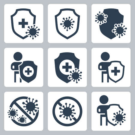 Virus Protection Related Vector Icon Set in Glyph Style  イラスト・ベクター素材