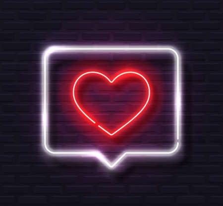 Neon Red Glowing Heart in White Spech Bubble Banner on Dark Brick Wall Background  イラスト・ベクター素材