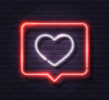 Neon White Glowing Heart in Red Spech Bubble Banner on Dark Brick Wall Background