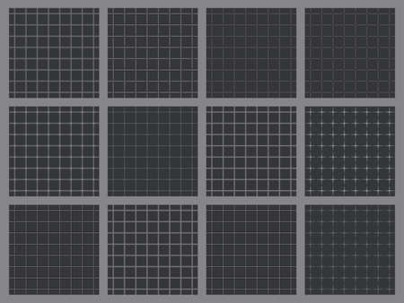 Twelve Retro Gray Grid Seamless Patterns With Light Lines for Background  イラスト・ベクター素材