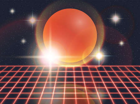 Retro 80s Futuristic Deep Space Design. Red Laser Grid and Red Sphere With Stars and Lights Over it