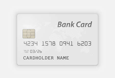 White Realistic Bank Card on White Background  イラスト・ベクター素材