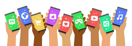 Hands Holding Smartphones up With Icons Representing Social Media Applications on Its Screens