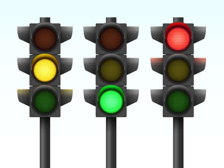 Realistic Vector Illustration of Three Traffic Lights With Different Colors On  イラスト・ベクター素材