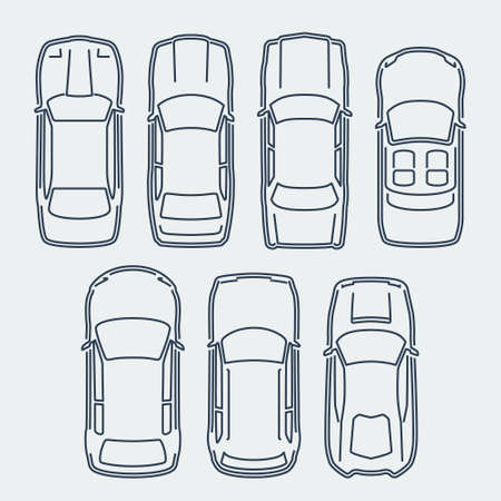 Vector Set of Cars in Outline Style, Top View